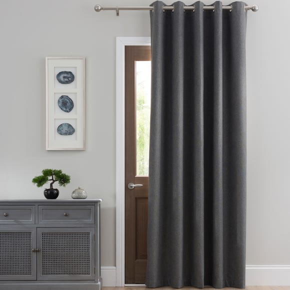 Luna Brushed Charcoal Blackout Eyelet Door Curtain Charcoal undefined