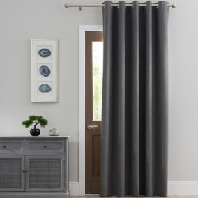 Luna Brushed Charcoal Blackout Eyelet Door Curtain