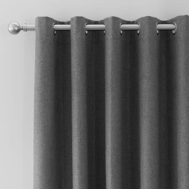 Luna Brushed Charcoal Blackout Eyelet Door Curtain  undefined