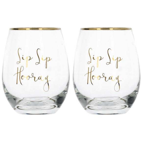 Ava & I Set of 2 Sip Sip Hooray Stemless Wine Glasses Clear