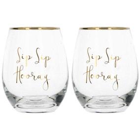 Ava & I Set of 2 Sip Sip Hooray Stemless Wine Glasses