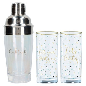 Set of 2 Ava & I Tumblers with Cocktail Shaker