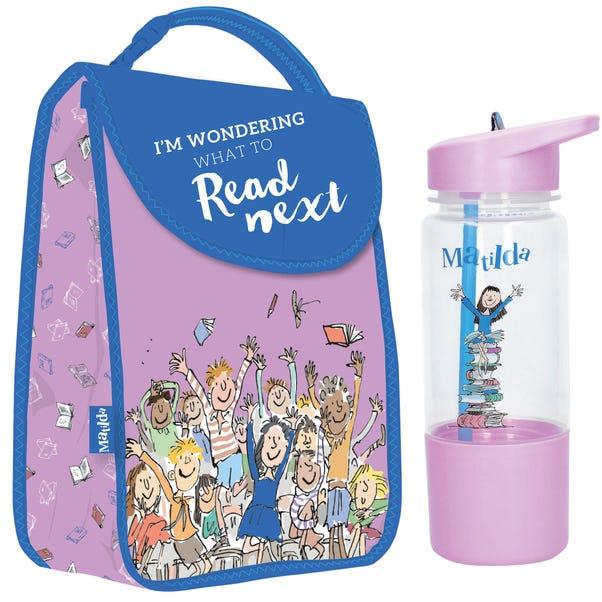 Roald Dahl Matilda Lunch Bag and Water Bottle Purple