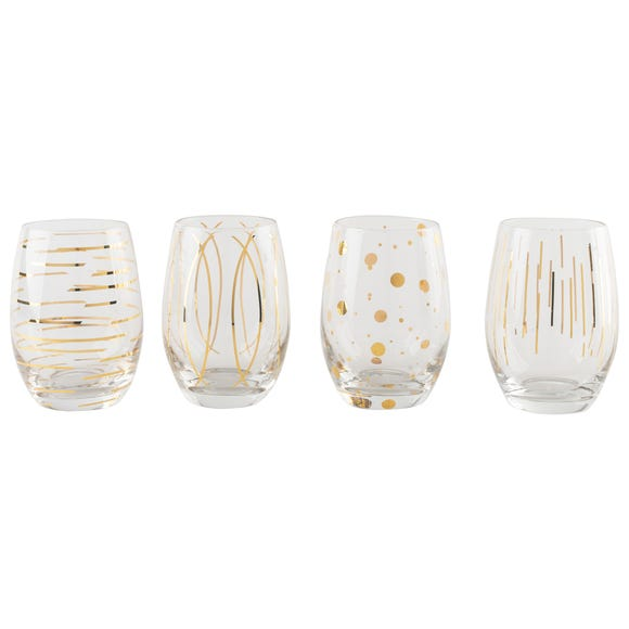 Mikasa Cheers Set Of 4 Stemless Wine Glasses Clear