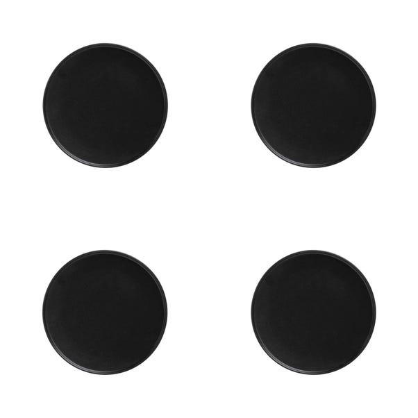 Maxwell & Williams Caviar Set Of 4 21cm High Rim Black Plates Black