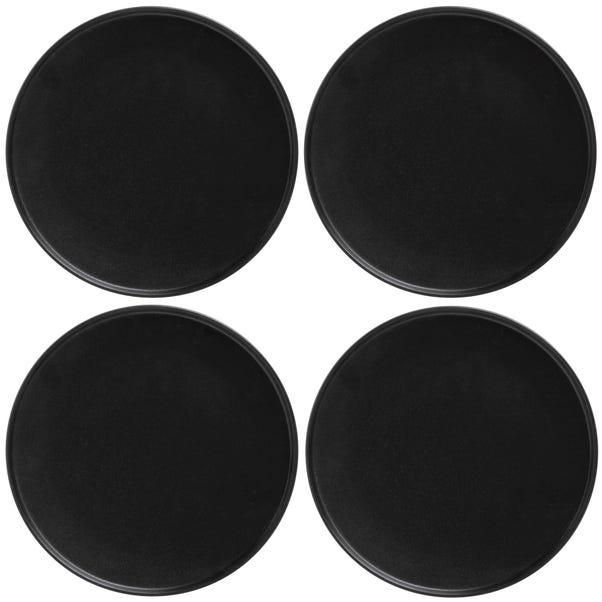 Maxwell & Williams Caviar Set Of 4 27cm High Rim Black Plates Black