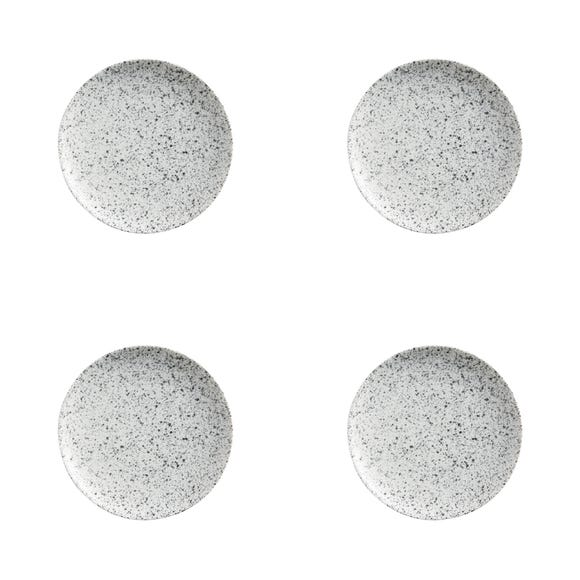 Maxwell & Williams Caviar Speckle Set Of 4 15cm Coupe Plates Grey