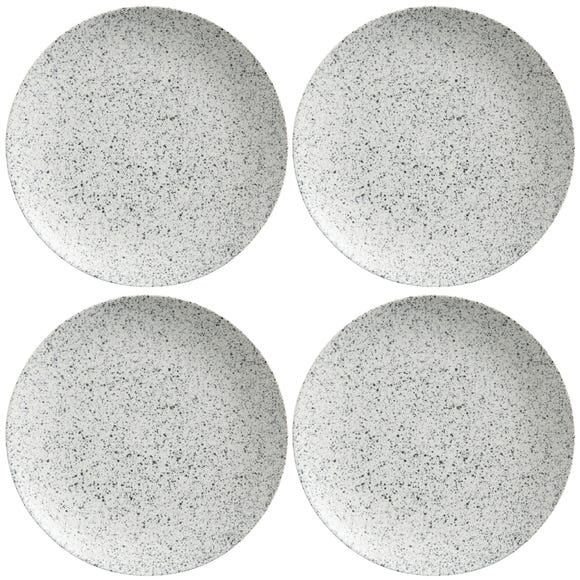 Maxwell & Williams Caviar Speckle Set Of 4 28cm Coupe Plates Grey