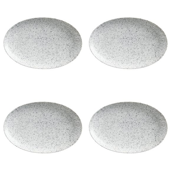 Maxwell & Williams Caviar Speckle Set Of 4 Oval Plates Grey