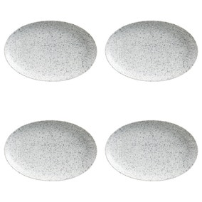 Maxwell & Williams Caviar Speckle Set Of 4 Oval Plates