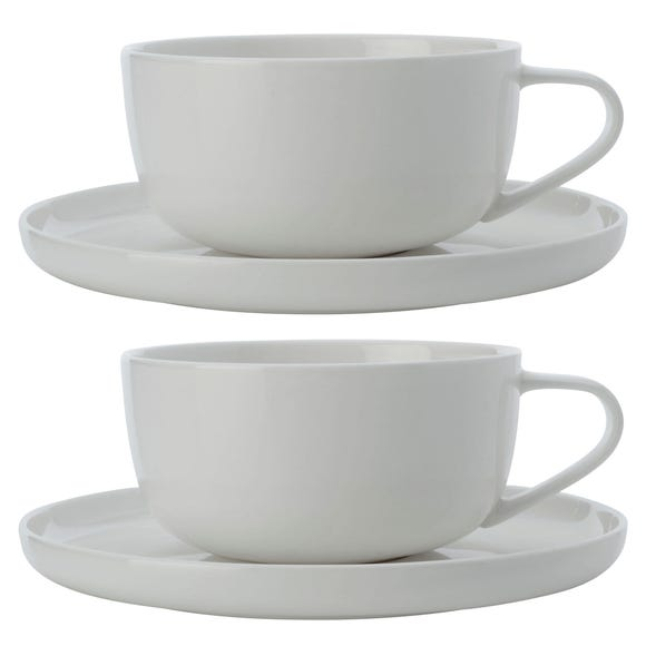 Maxwell & Williams Cashmere Set Of 2 300ml Cup and Saucers White