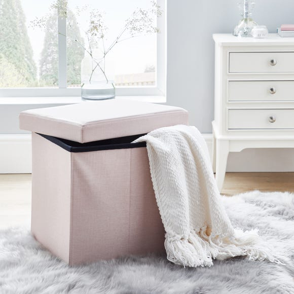 Faux Linen Blush Foldable Cube Ottoman Blush