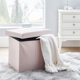 Faux Linen Blush Foldable Cube Ottoman
