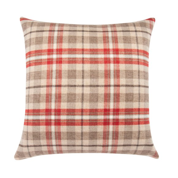 Large Hunter Check Woven Cushion Rust