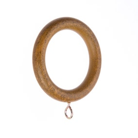 Pack of 6 Ashton Dark Oak Curtain Rings Dia. 28mm