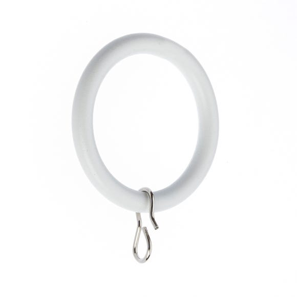 Pack of 6 Ashton White Curtain Rings Dia. 19mm White undefined
