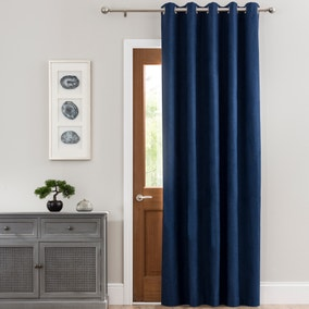 Luna Brushed Navy Blackout Eyelet Door Curtain