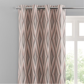 Diamond Jacquard Blush Eyelet Curtains