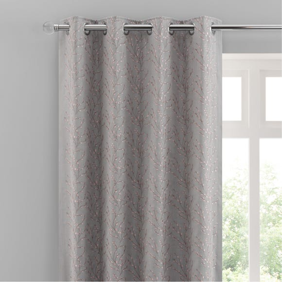 Ottily Blush Embroidered Floral Eyelet Curtains  undefined