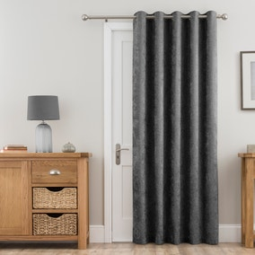 Chenille Grey Thermal Eyelet Door Curtain