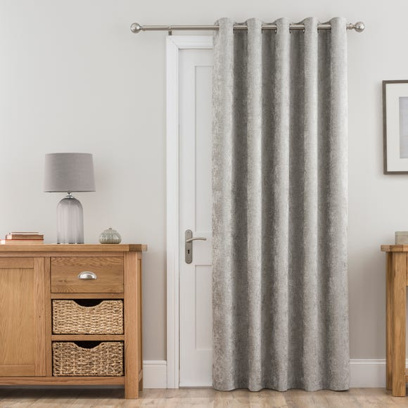 Chenille Silver Thermal Eyelet Door Curtain  undefined