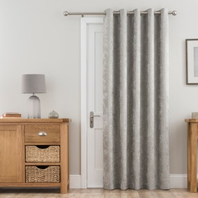 Chenille Silver Thermal Eyelet Door Curtain