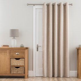 Chenille Cream Thermal Eyelet Door Curtain