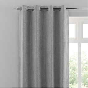 Oxford Dove Grey Chenille Eyelet Curtains