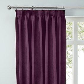 Parker Aubergine Chenille Pencil Pleat Curtains