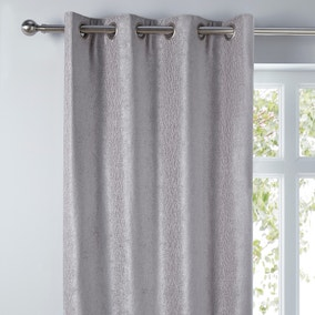 Chenille Silver Wave Eyelet Curtains