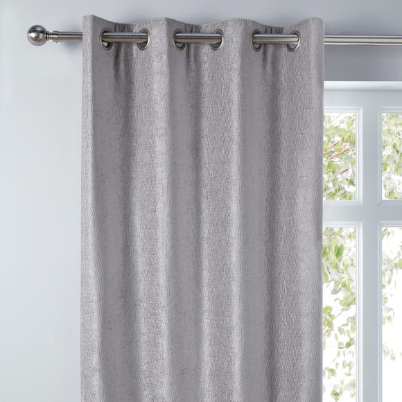 Chenille Silver Wave Eyelet Curtains Silver undefined