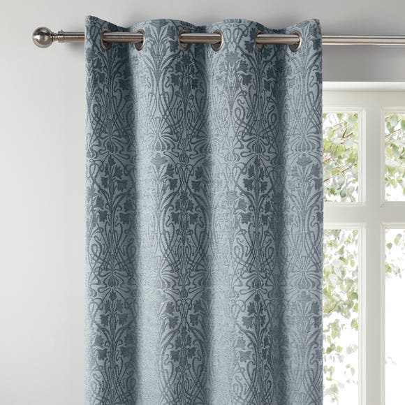Charlotte Grey Chenille Jacquard Eyelet Curtains Grey undefined