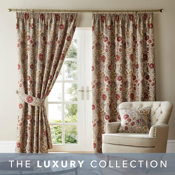 Betsy Natural Chenille Jacquard Pencil Pleat Curtains  undefined