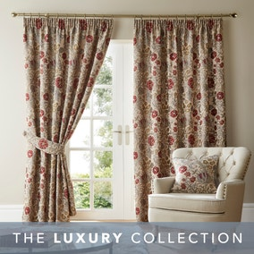 Betsy Natural Chenille Jacquard Pencil Pleat Curtains