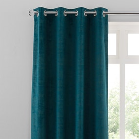 Ruben Teal Velour Eyelet Curtains