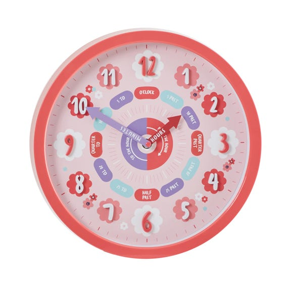 Pink Tell The Time Clock Pink