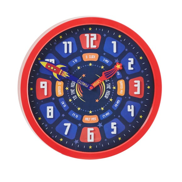 Space Tell The Time Clock Red