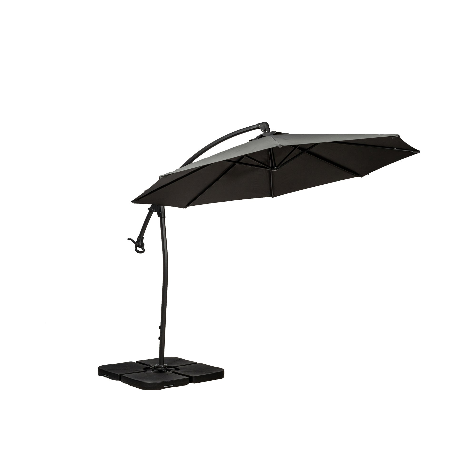 Royal Craft Deluxe Pedal Operated Rotational Cantilever Parasol with Cross Stand Cream