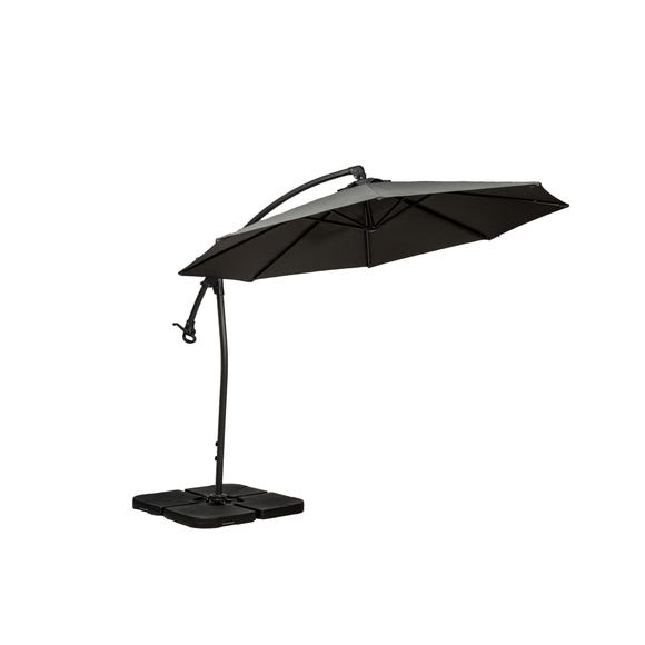 Royal Craft Deluxe Pedal Operated Rotational Cantilever Parasol with Cross Stand Grey