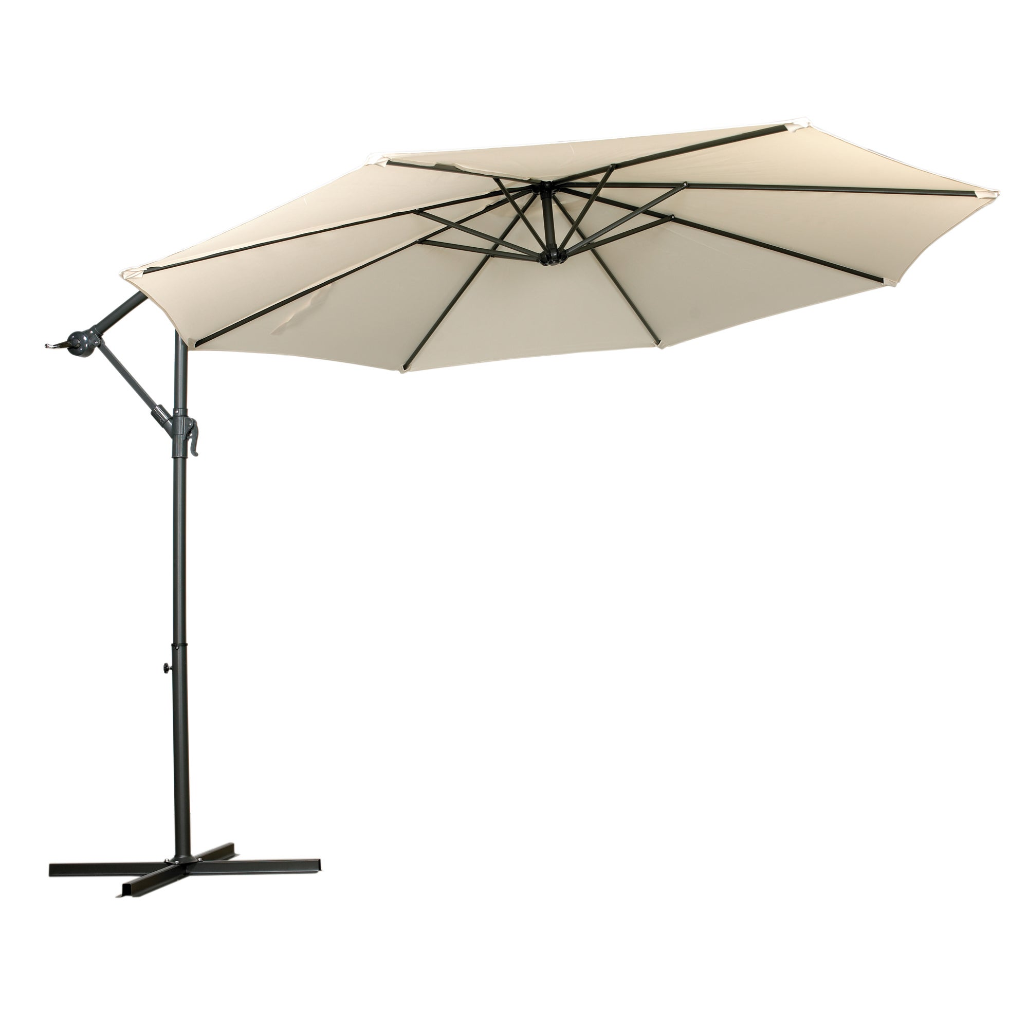 Royal Craft Cantilever Powder Coated Parasol with Cross Stand Grey