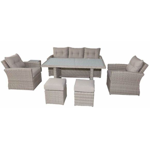 Lisbon 7 Seater Deluxe Sofa Dining Set Sand