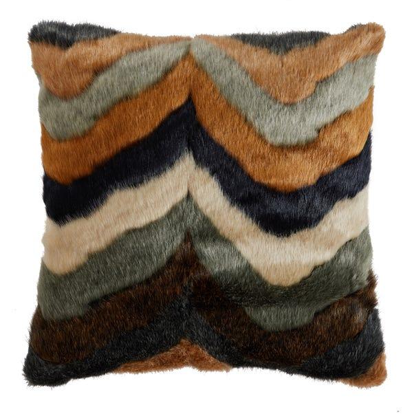Eska Zigzag Faux Fur Cushion Natural