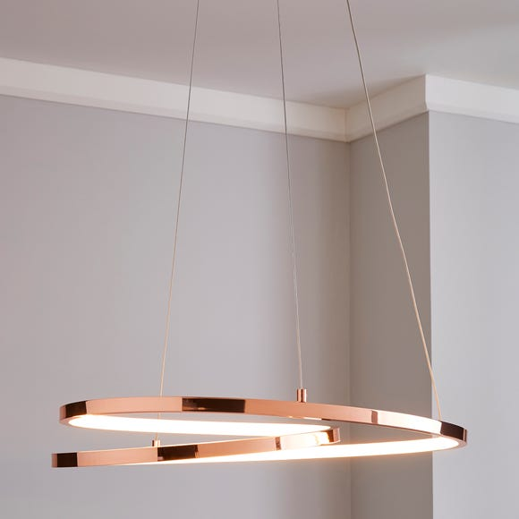 Menton Integrated LED Swirl Copper Ceiling Fitting Copper
