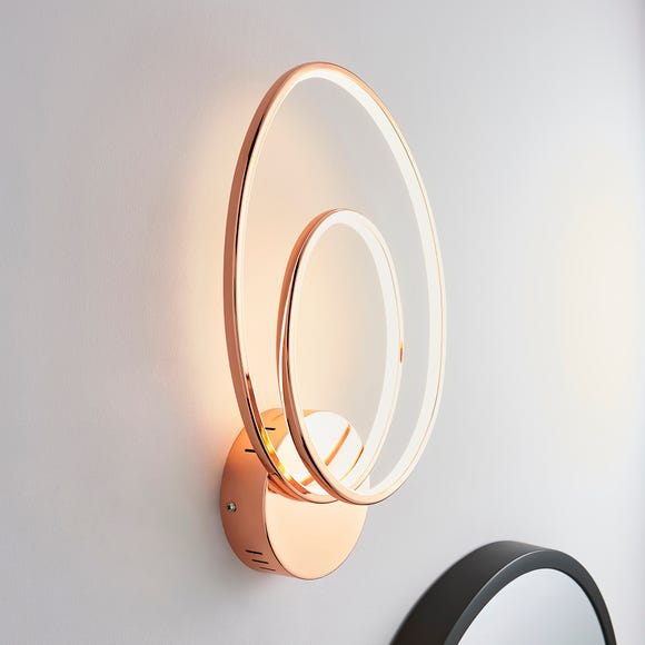 Menton Integrated LED Swirl Copper Wall Light Copper