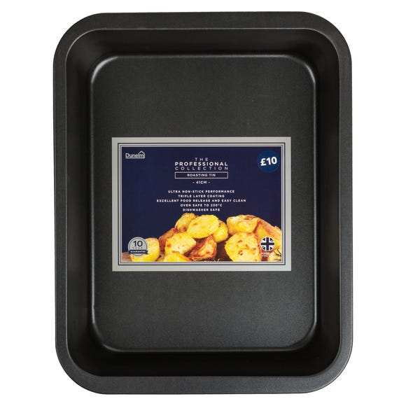 Dunelm Professional 41cm Roasting Tin Black