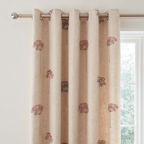 Cow Parsley Red Embroidered Eyelet Curtains