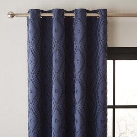 Jude Navy Textured Eyelet Curtains