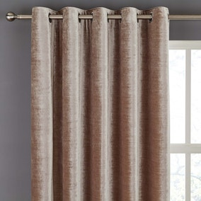 Stockton Champagne Velvet Eyelet Curtains