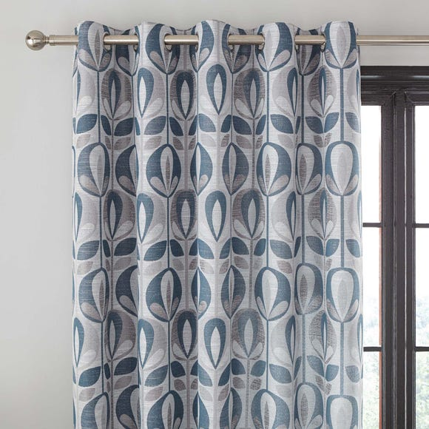 Scandi Tulip Teal Jacquard Eyelet Curtains Teal (Blue) undefined