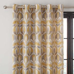 Scandi Tulip Ochre Jacquard Eyelet Curtains